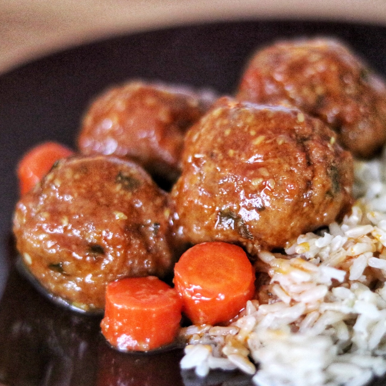 Asian Sesame Sweet-and-Sour Turkey Meatballs with rice