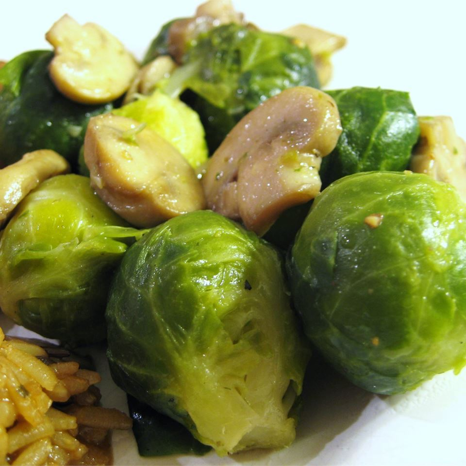 Brussels Sprouts with Mushrooms in a white bowl