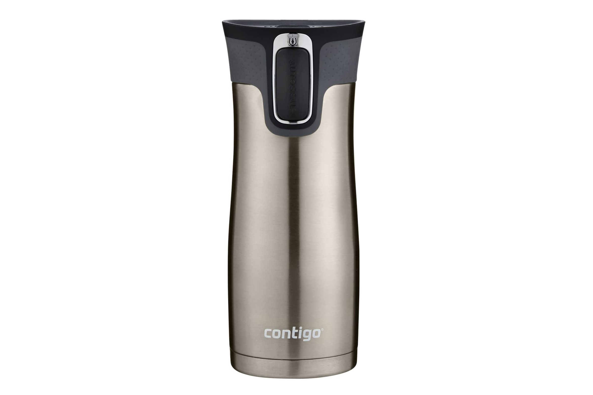 a silver and black Contigo Stainless Steel Autoseal West Loop Vaccuum-Insulated Travel Mug on a white background