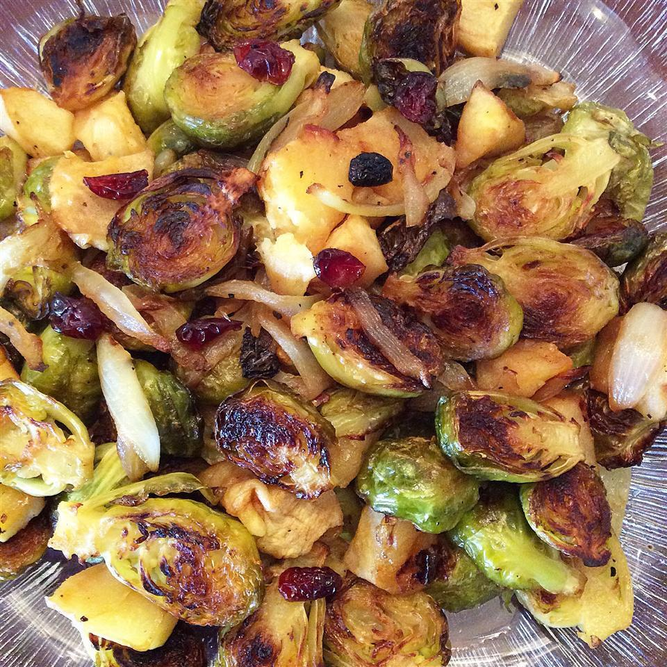 Roasted Apples and Brussels Sprouts in a glass bowl