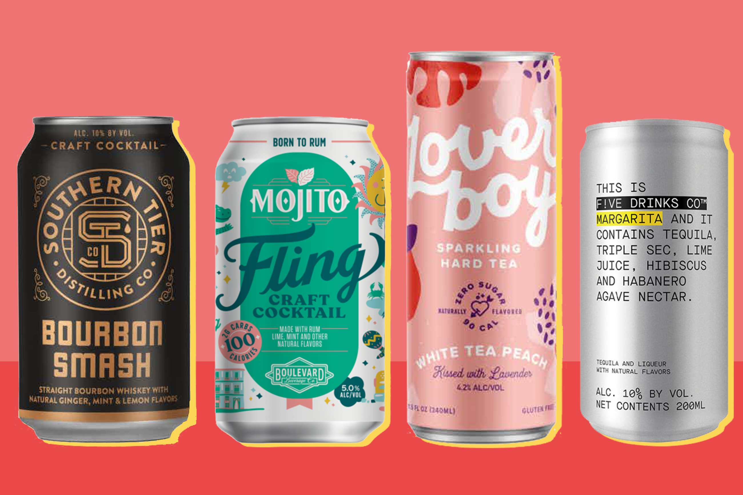 four canned cocktails on a two-tone red background