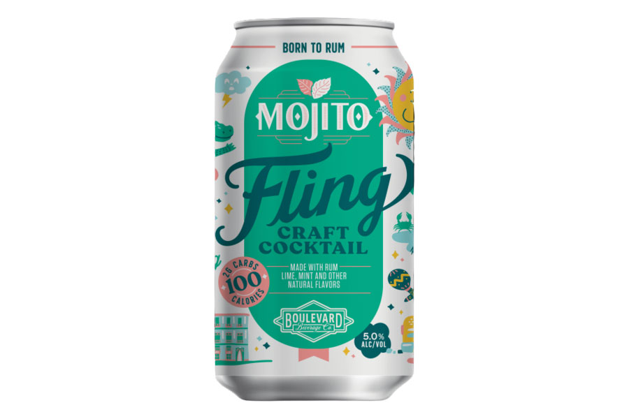 a can of Fling Cocktails Mojito on a white background