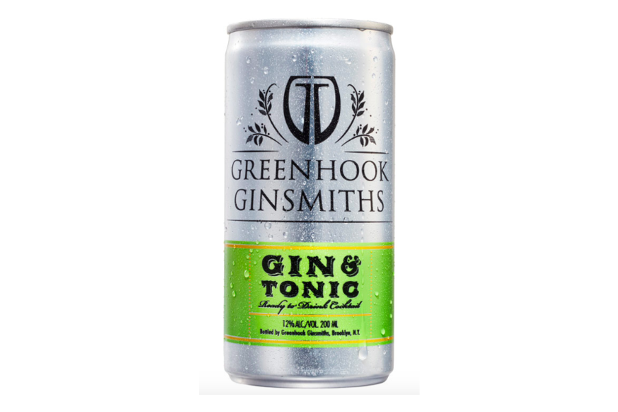 a can of Greenhook Ginsmiths Gin And Tonic on a white background