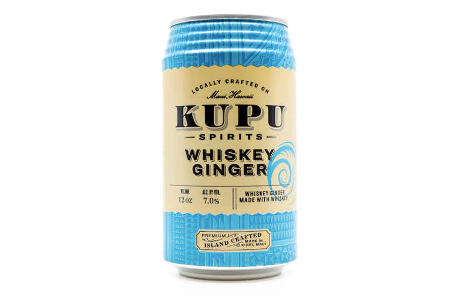 a can of Kupu Spirits Whiskey Ginger on a white background