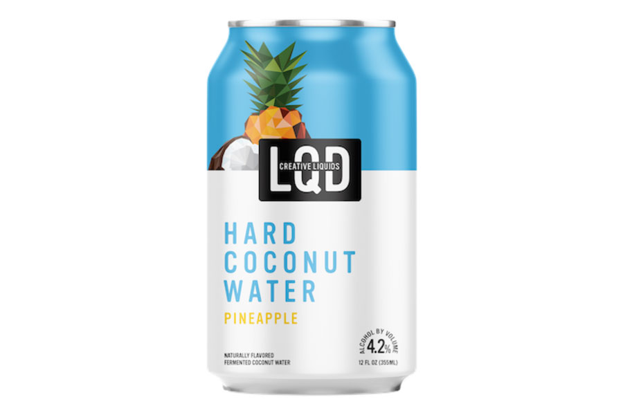 a can of LQD Hard Coconut Water Pineapple on a white background