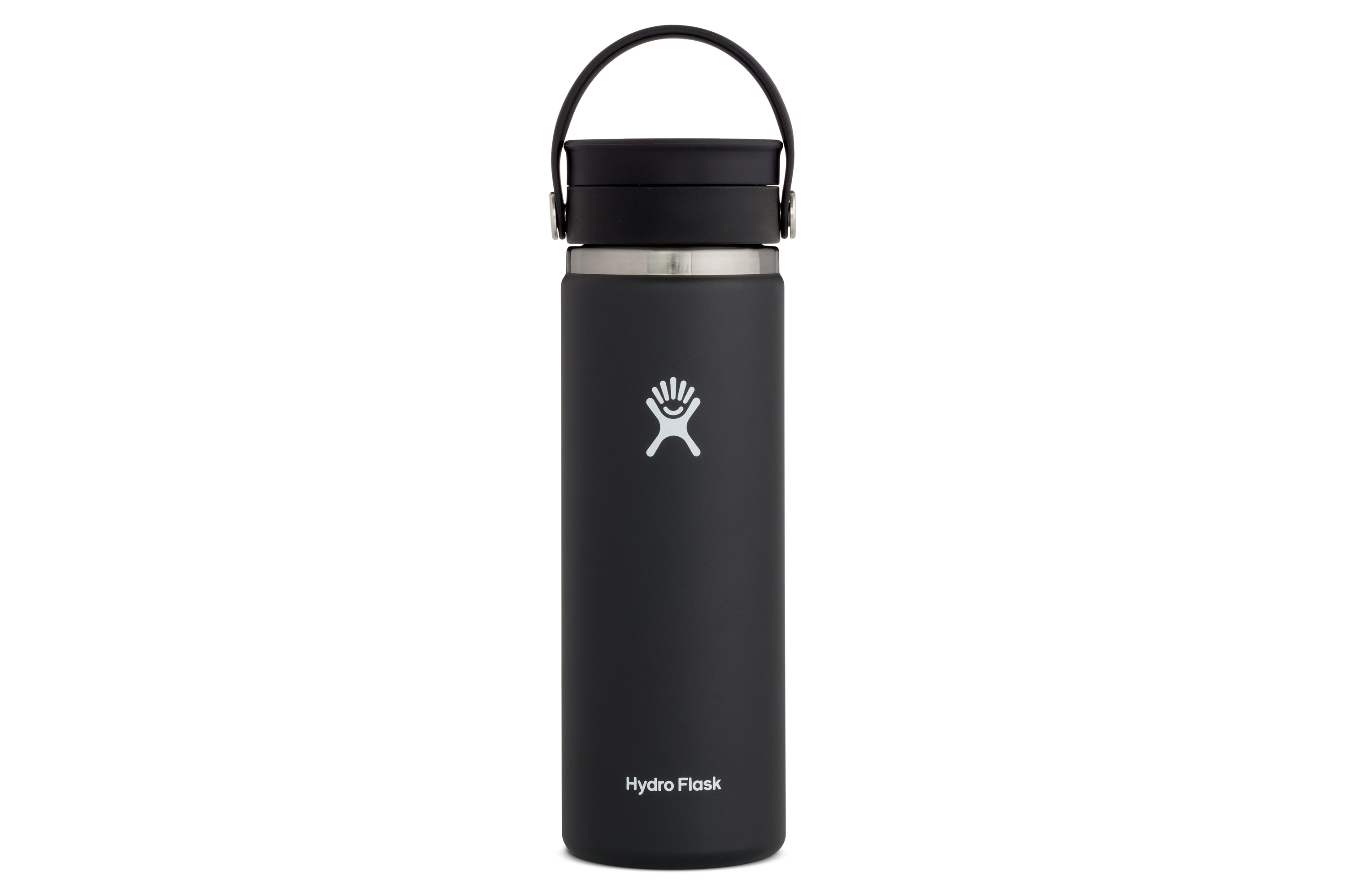 a black Hydro Flask 20-Ounce Coffee Flask with Flex Sip Lid on a white background