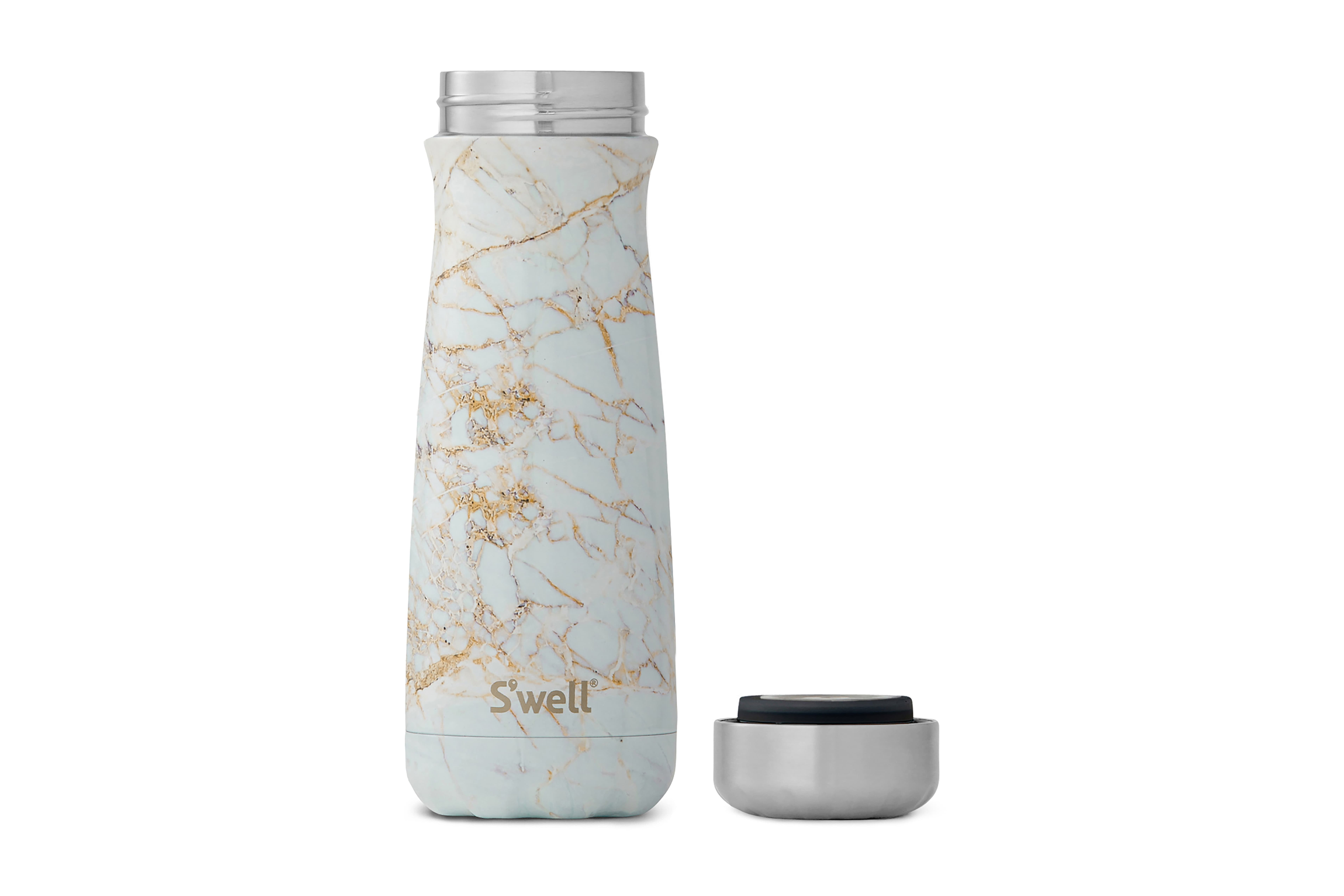 a Traveler Calcatta Gold 20-Ounce Insulated Stainless Steel Water Bottle on a white background