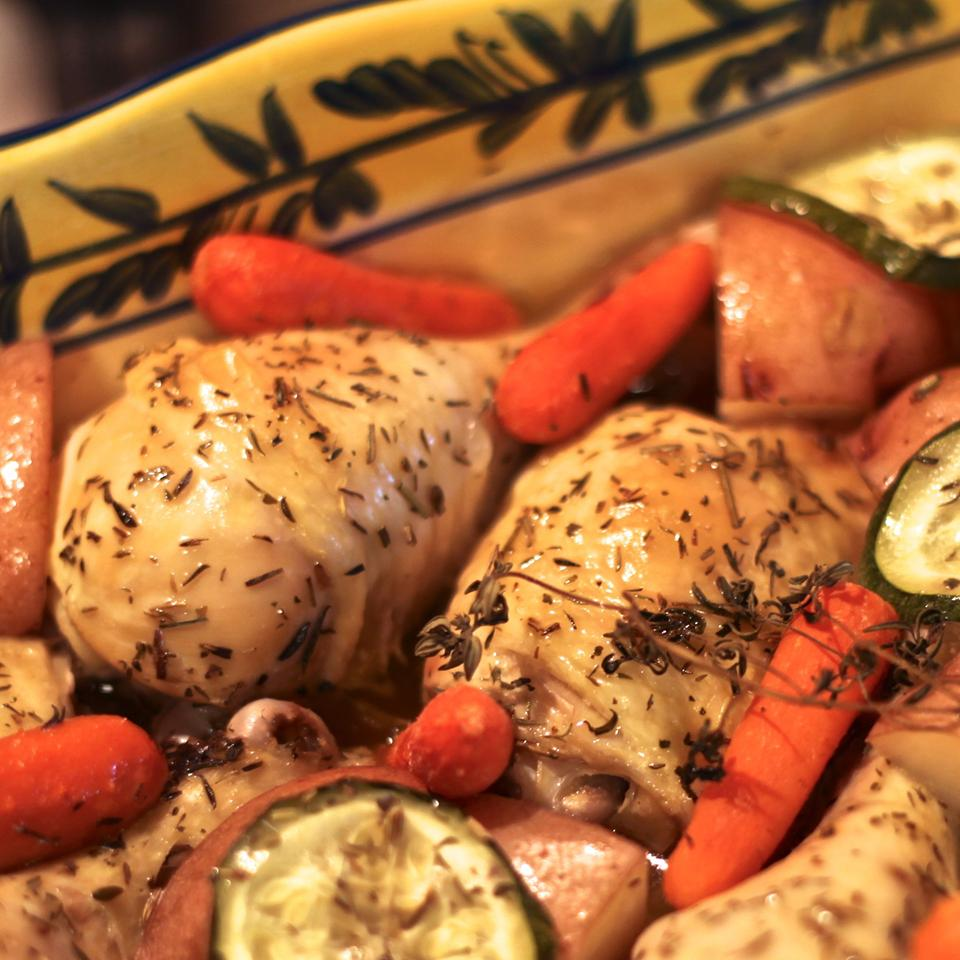 Chicken with potatoes, carrots, and squash