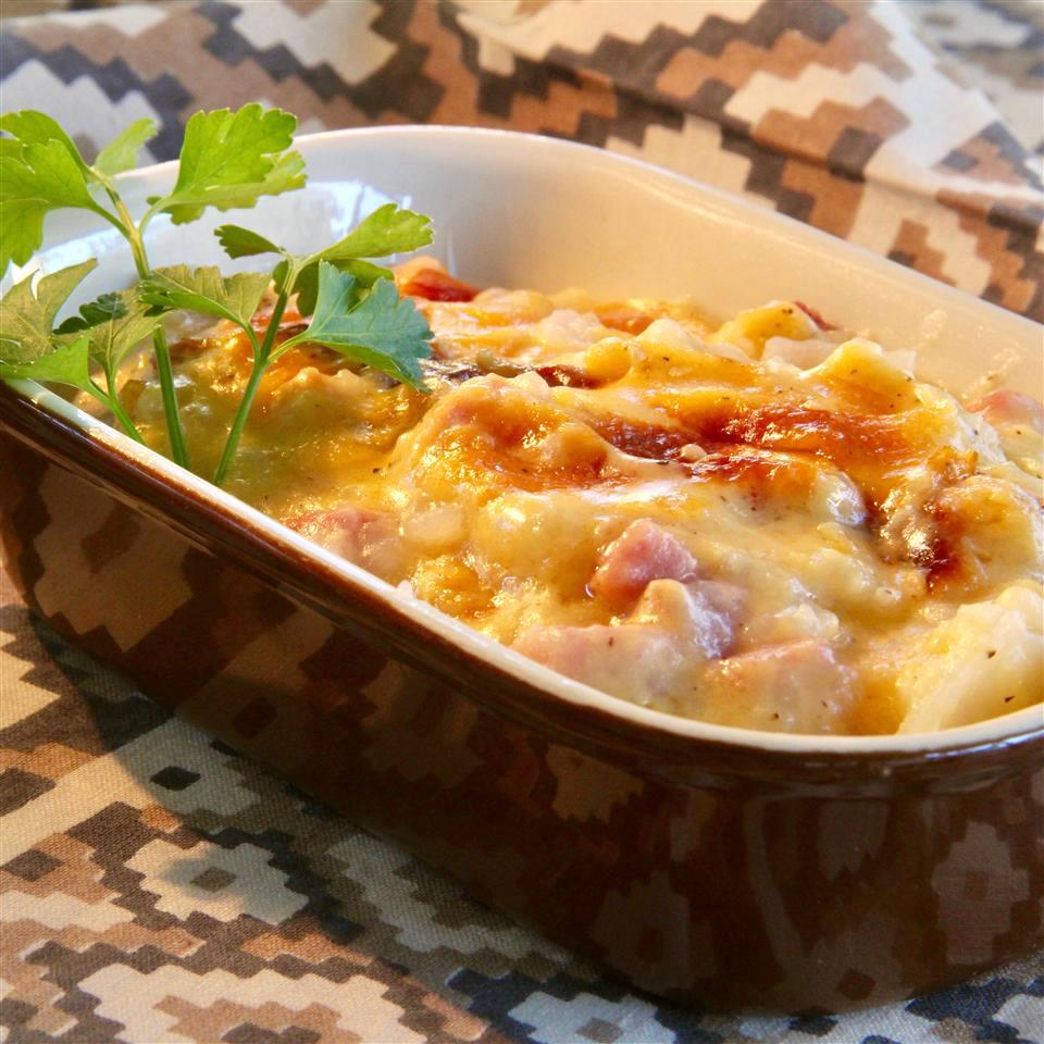 Ham and Scalloped Potatoes in a casserole dish