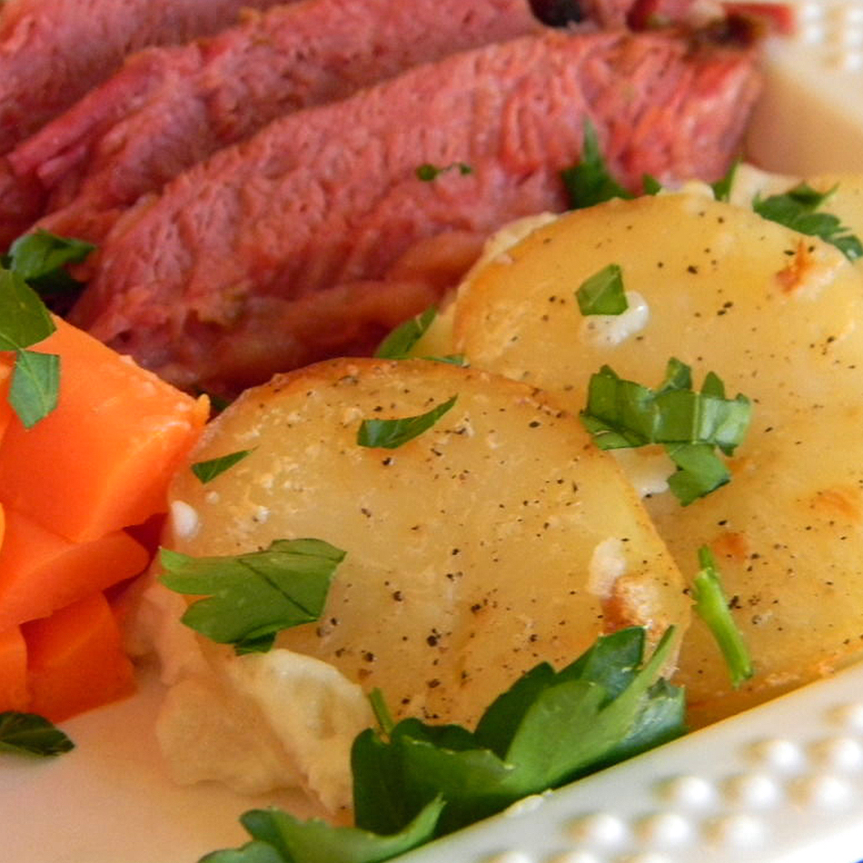 Old Irish Scalloped Potatoes with carrots and corned beef