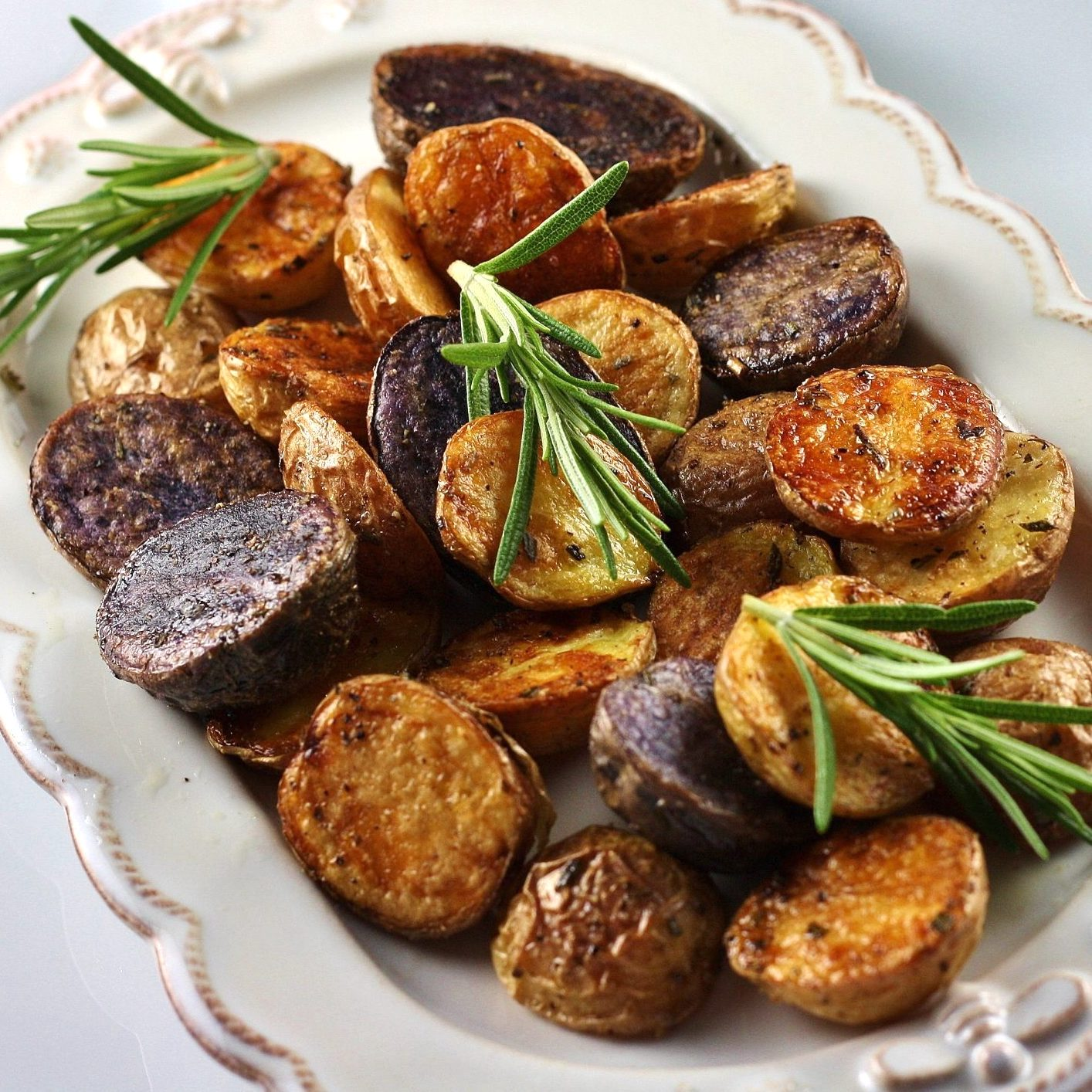 Roast Potatoes in a white dish
