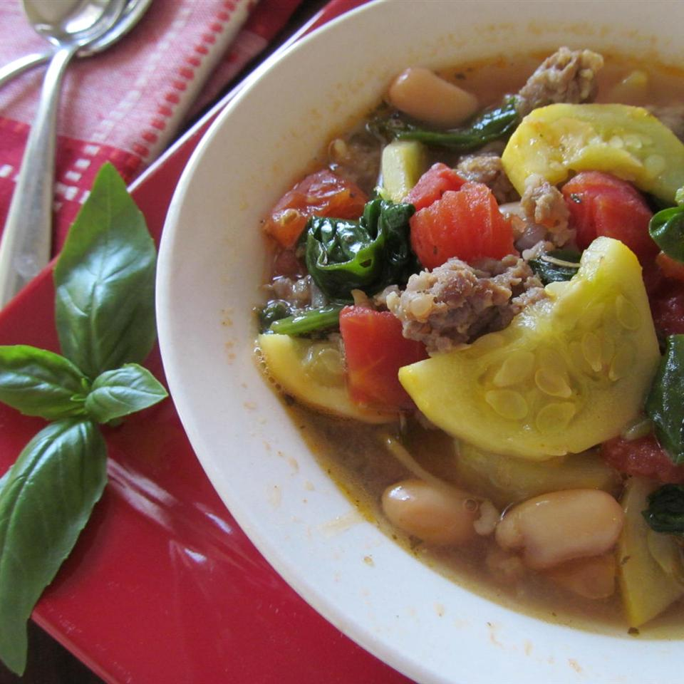 Italian soup with beans, chicken, squash, and other vegetables
