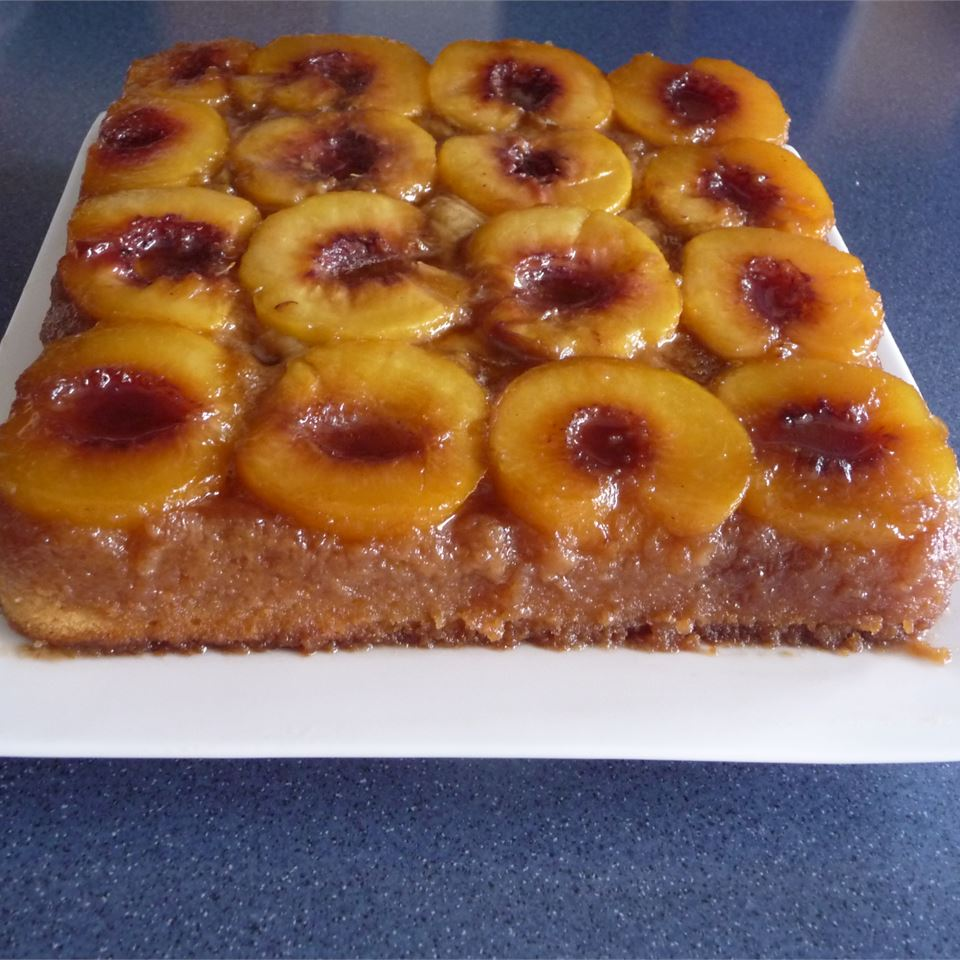 Peach Upside Down Cake I on a white square platter
