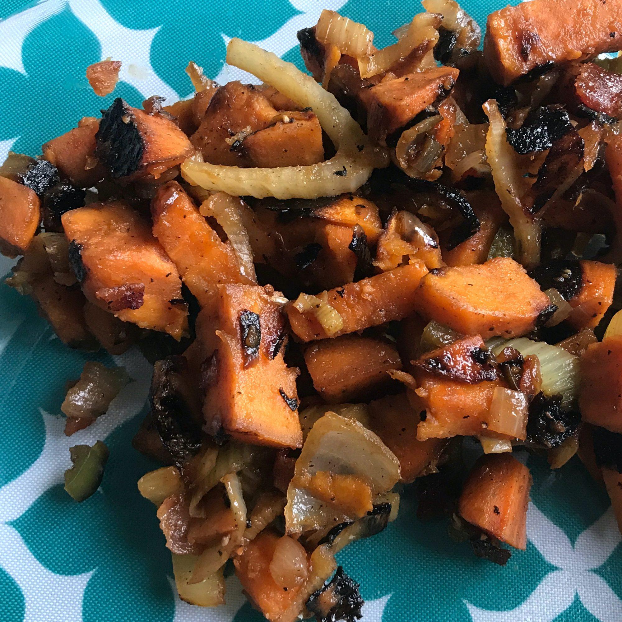Sweet Potato and Fennel Hash on a turquoise and white plate
