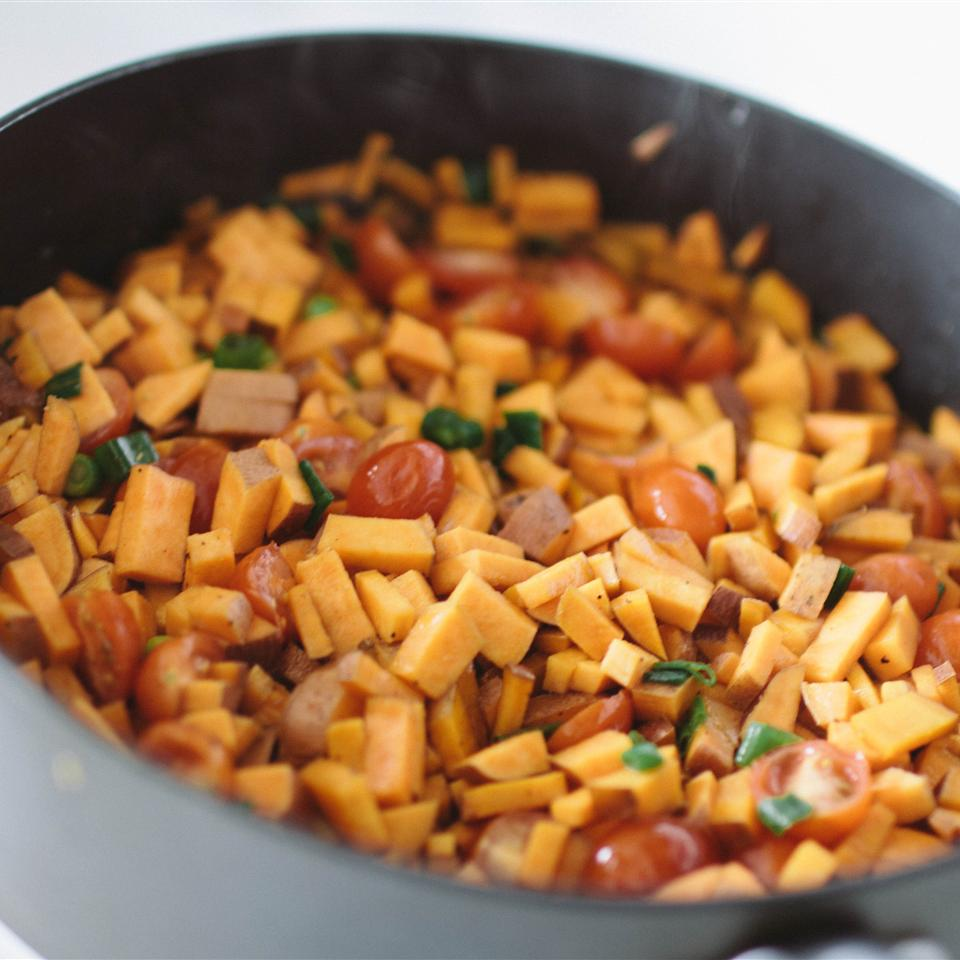 Sweet Potato and Pastrami Hash in a grey pot