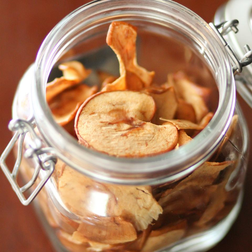 Apple Chips in a glass jar