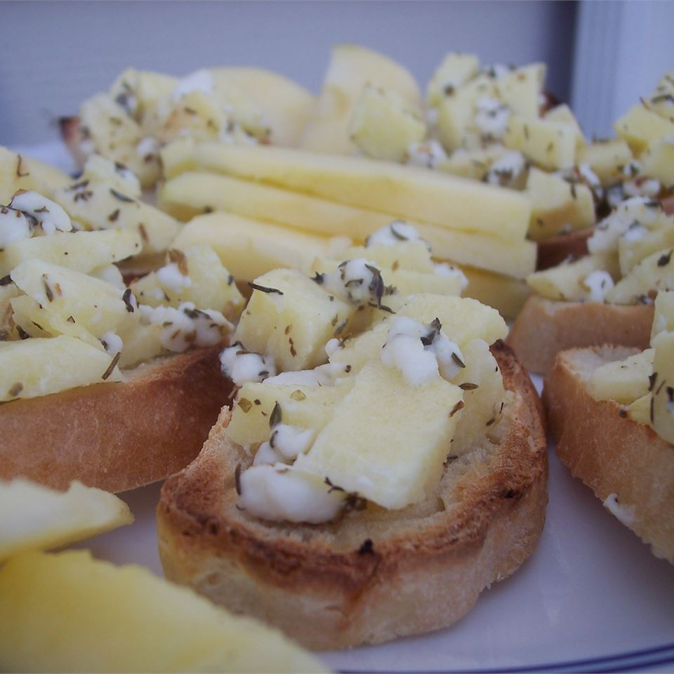 a plate of Apple Goat Cheese Bruschetta