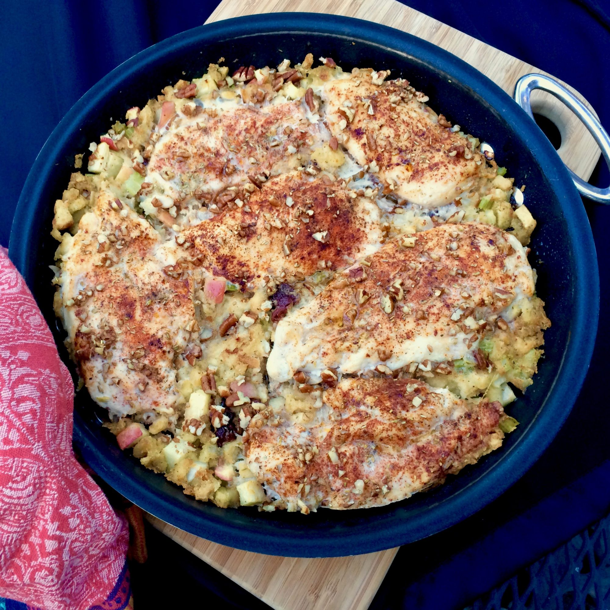 a pan of Chicken and Apple Stuffing Casserole