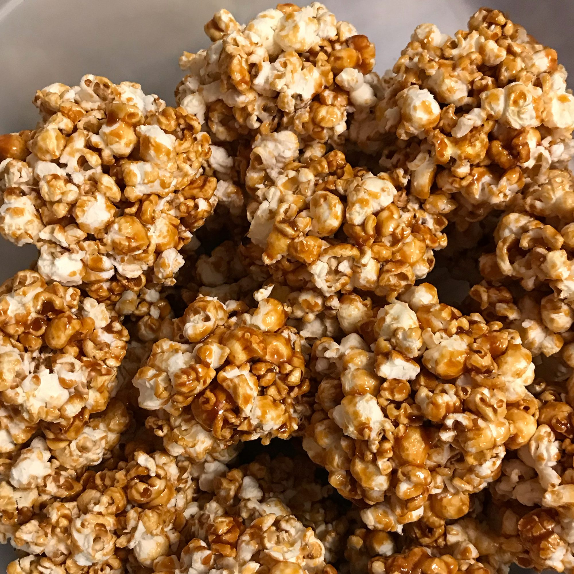 Favorite Popcorn Balls on a grey background