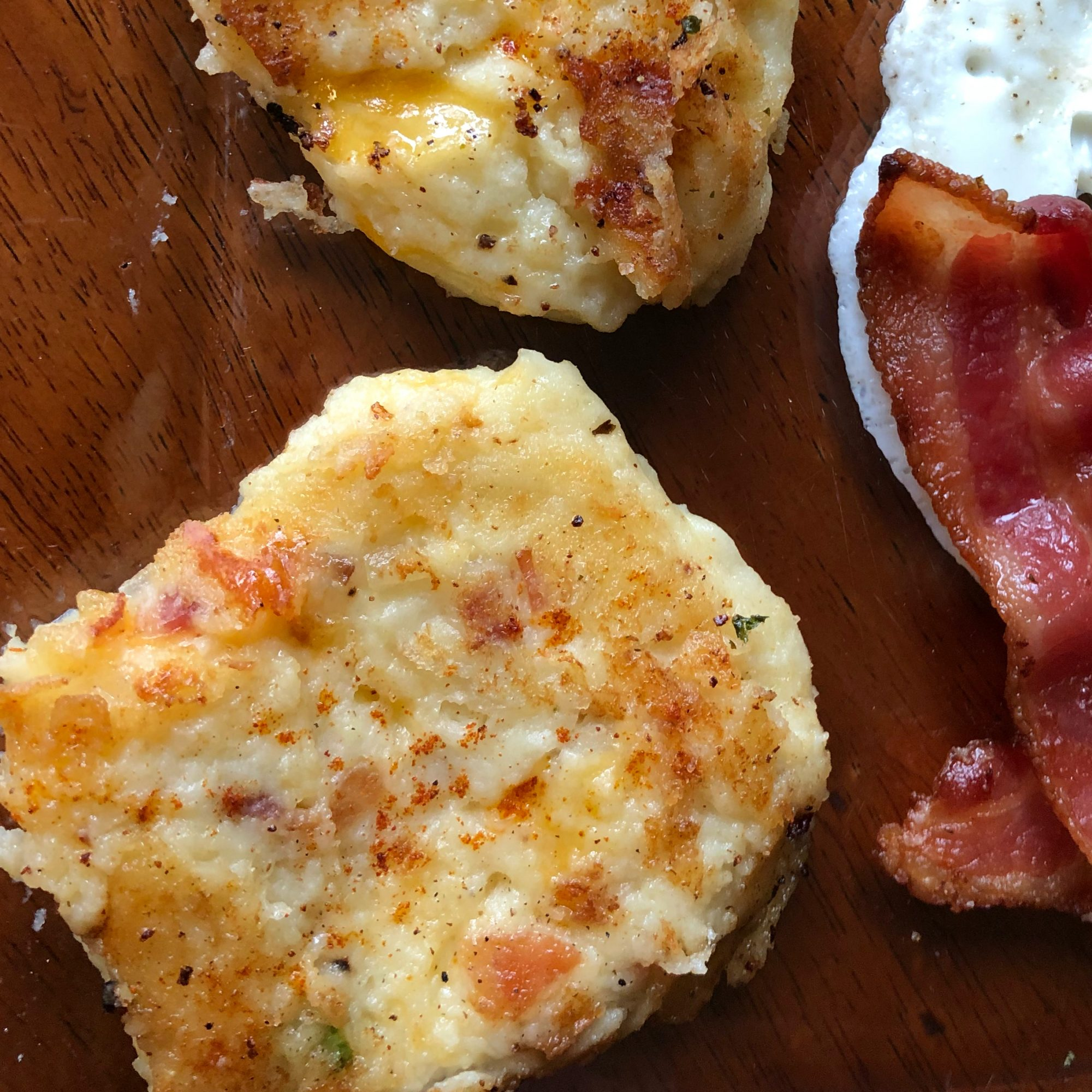 Loaded Mashed Potato Cakes with bacon and fried egg