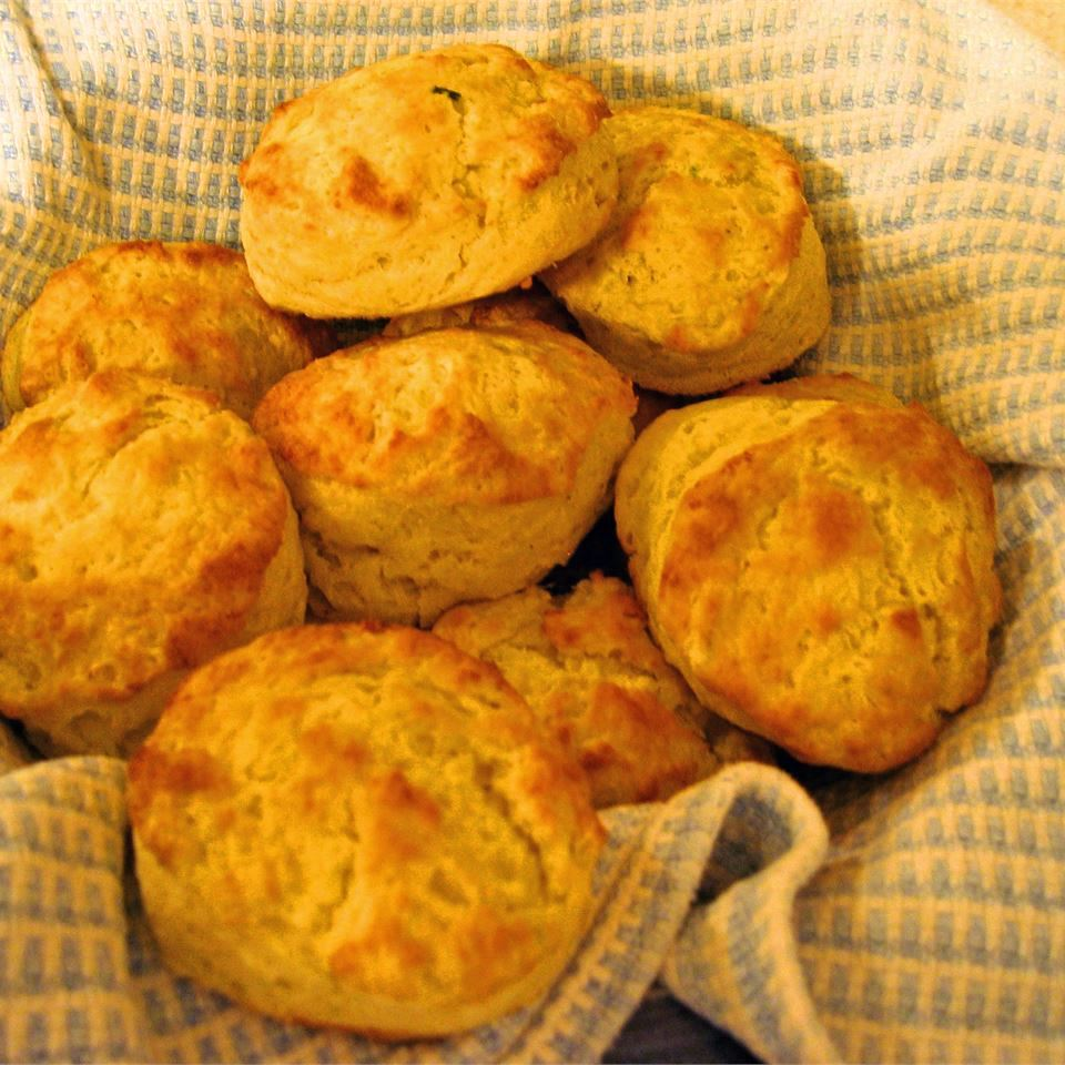 Tender Potato Biscuits on a napkin