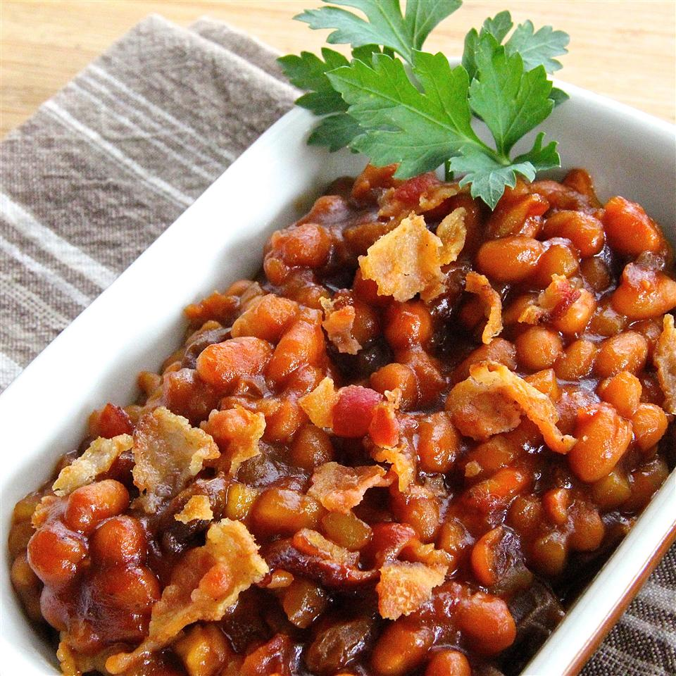 Apple Baked Beans in a white rectangle pan