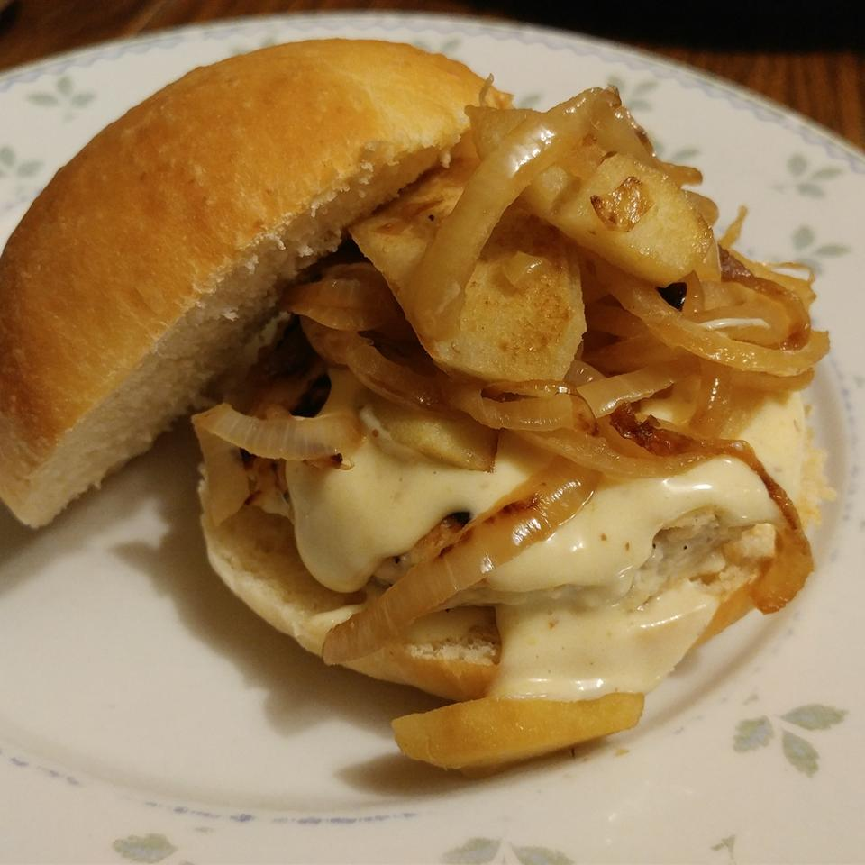 a paper plate with Maple Apple Chicken Burgers