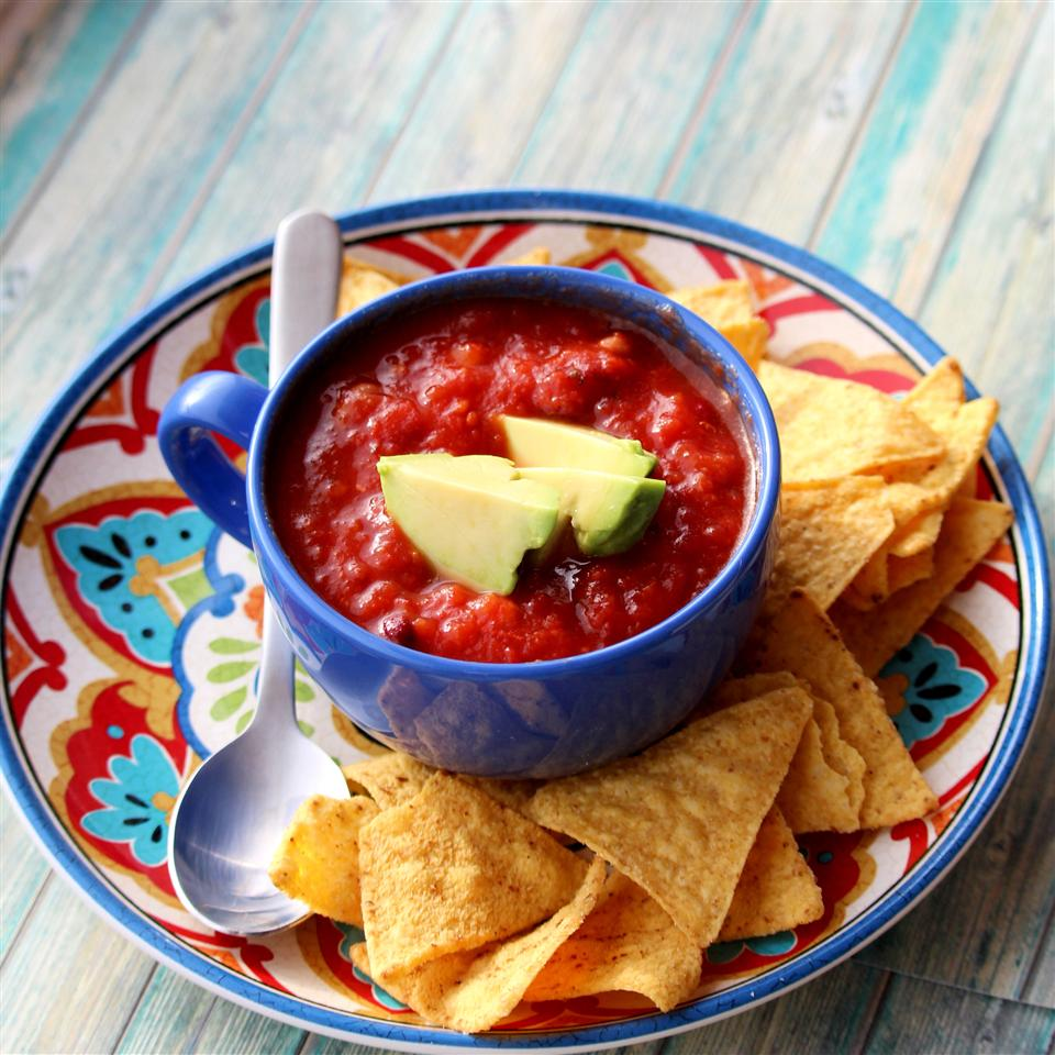 Smoky Vegan Chili in a colorful bowl with chips