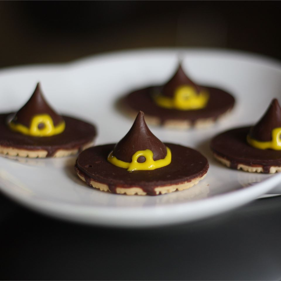 Witches' Hats made with chocolate kisses