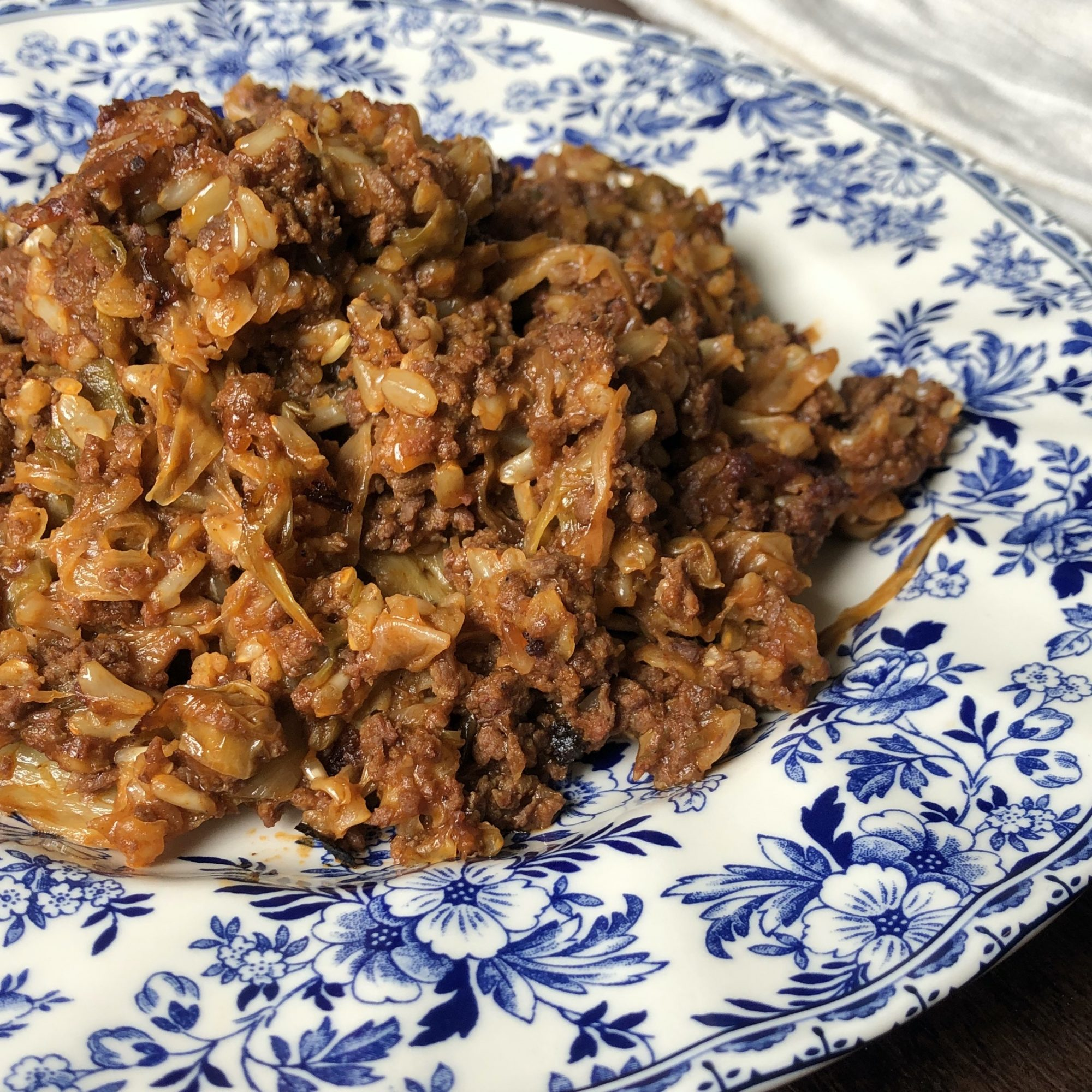 Cabbage Roll Casserole on a blue and white plate