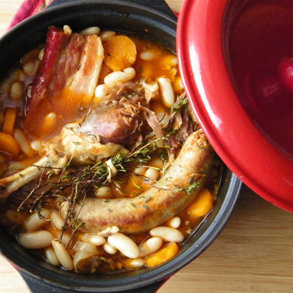 Chef John's Cassoulet in a red cocotte