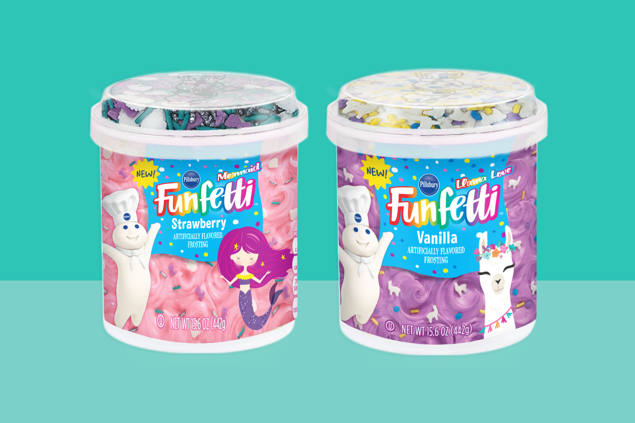 two containers of Pillsbury's Funfetti mermaid and llama frostings on a two-tone teal background