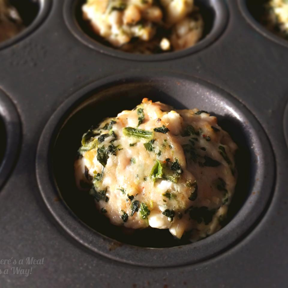 Baked Spinach, Feta, and Turkey Meatballs in muffin tin