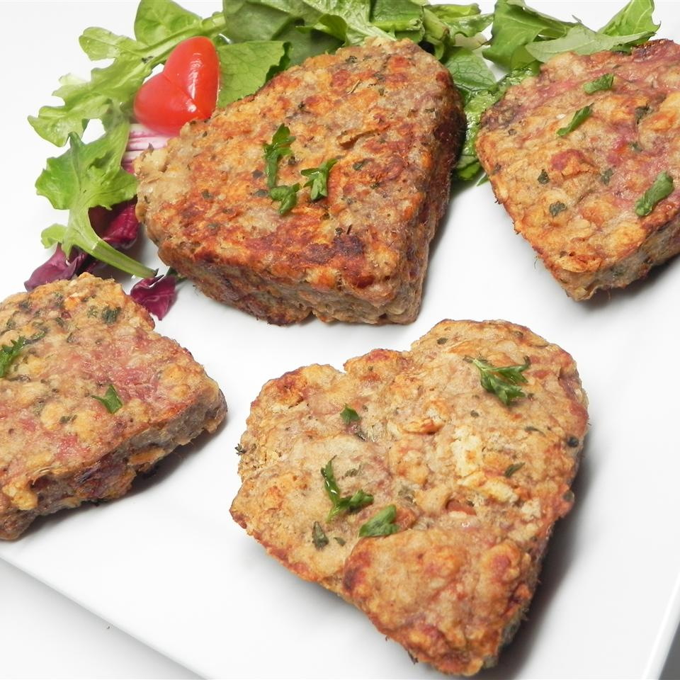 Turkey Meatloaf shaped into hearts on white platter