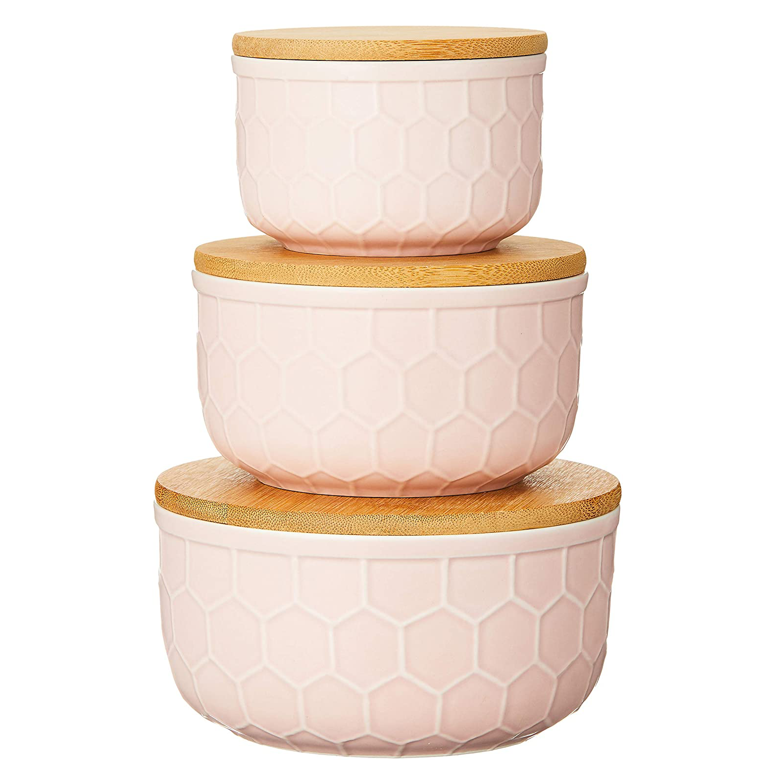 Bloomingville Set of 3 Round Pink Stoneware Bowls with Bamboo Lids
