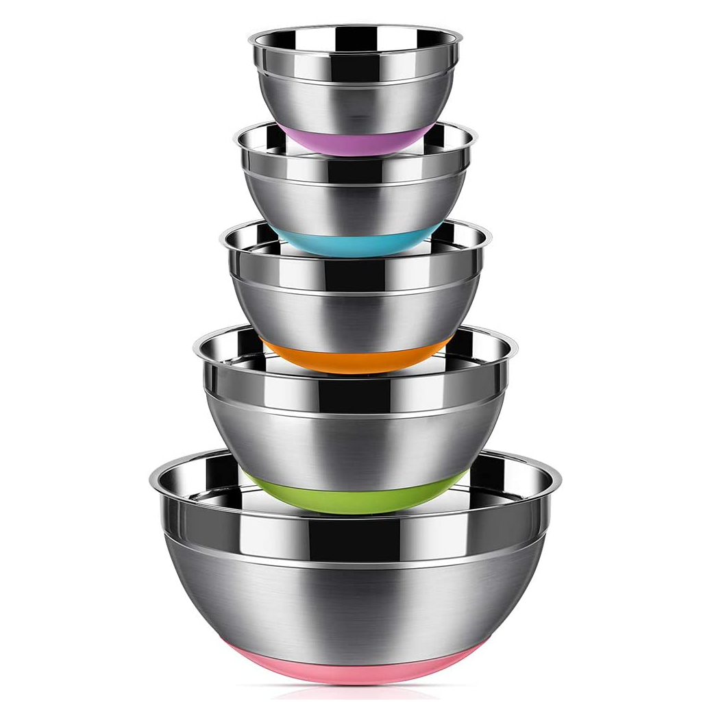 Stainless Steel Mixing Bowls (Set of 5), Non Slip Colorful Silicone Bottom Nesting Storage Bowls by Regiller