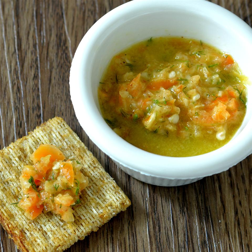 Hellish Relish in a bowl with crackers