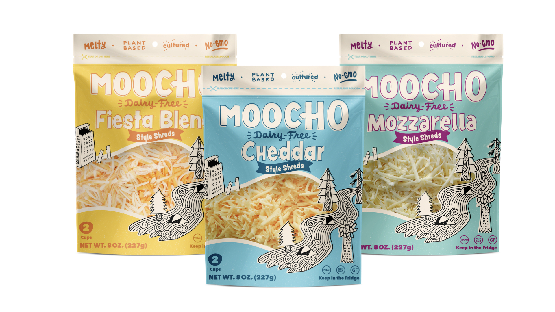 three packages of moocho shreds