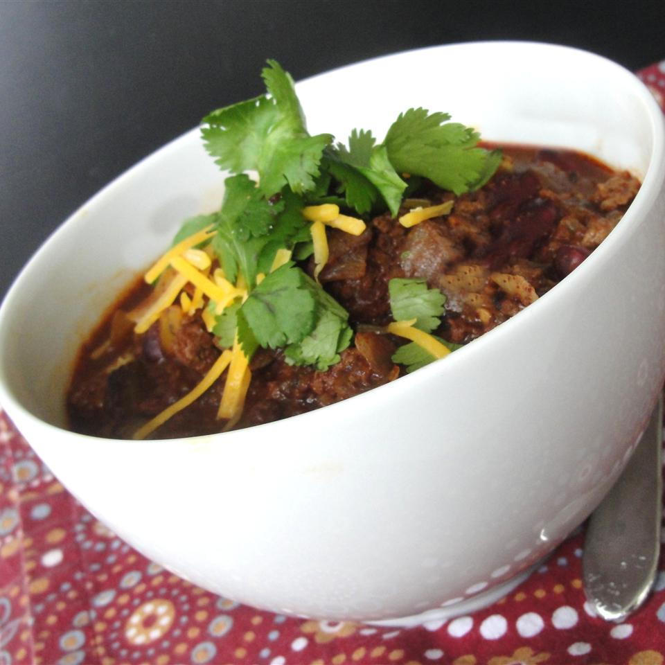Slow Cooker Turkey Chili with Kidney Beans in a white bowl