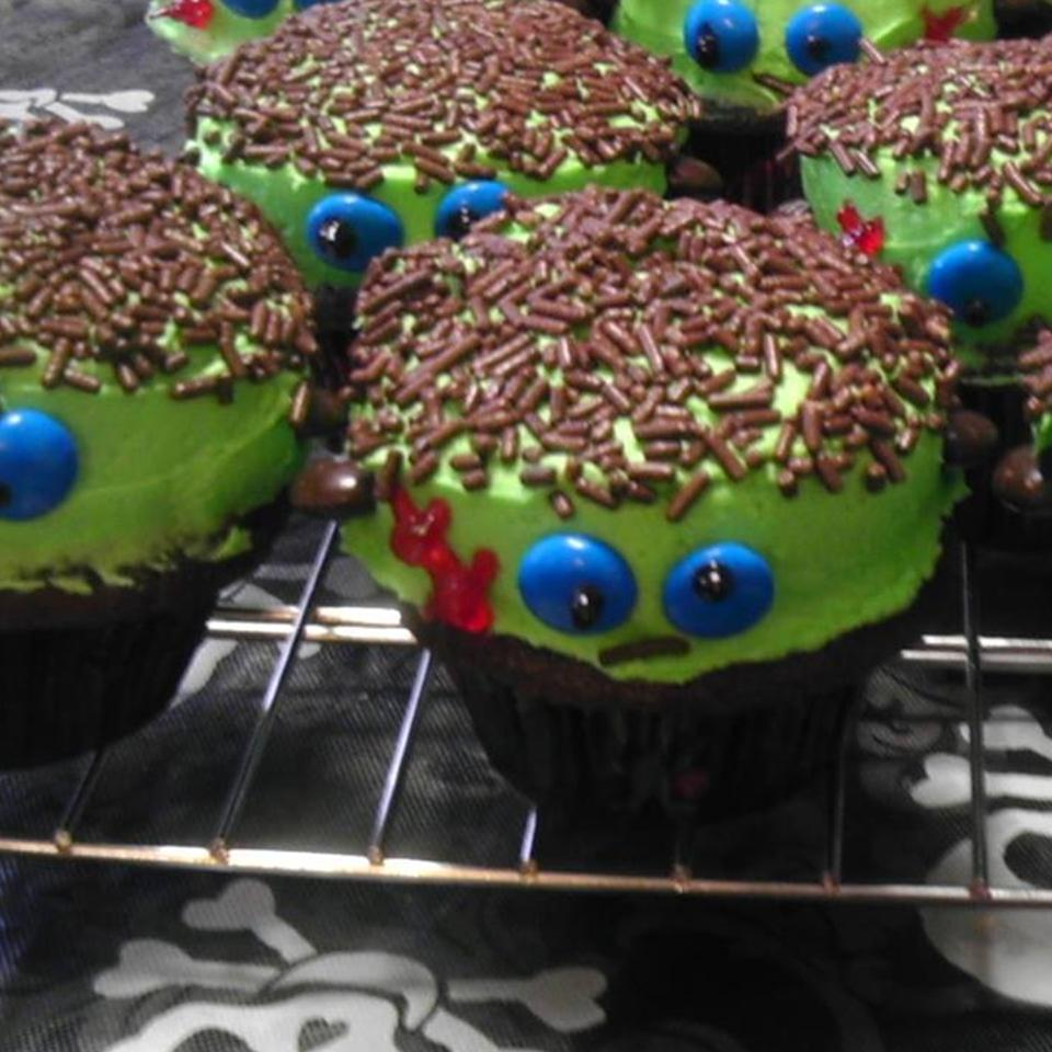 Frankenstein Cupcakes on a cooling rack