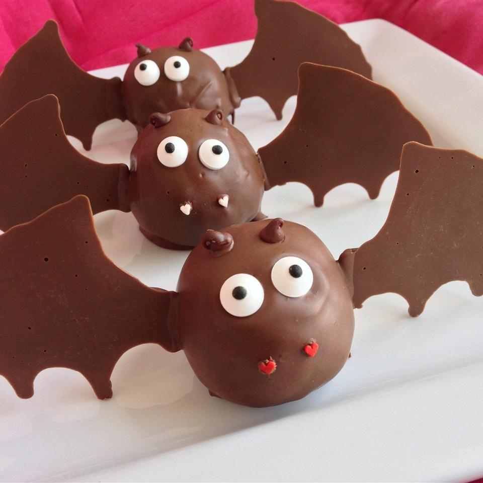 Halloween truffles decorated to look like bats
