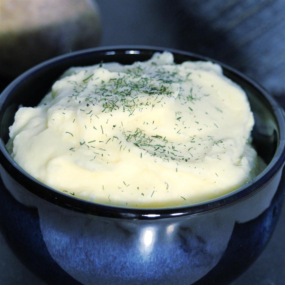 Mashed Potatoes and Celery Root in a blue bowl