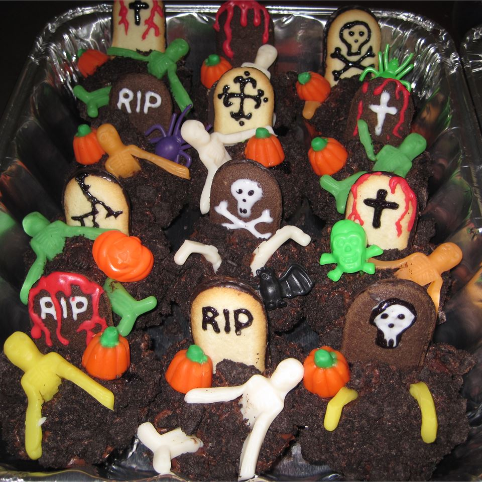 Cupcake Graveyard with skeletons and pumpkins