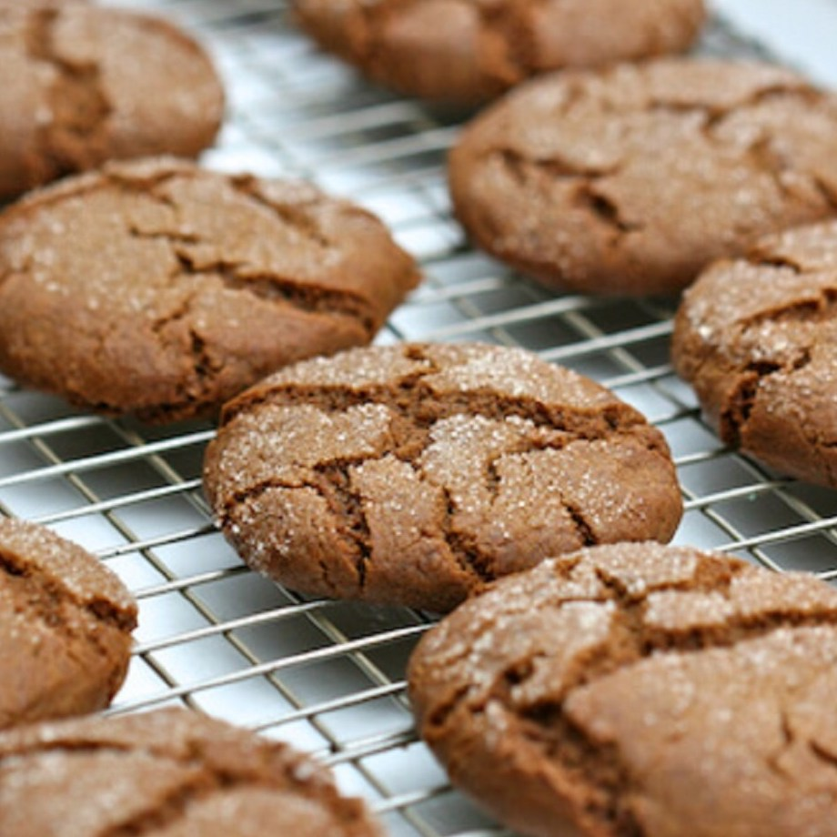 ginger cookies on a baking rack