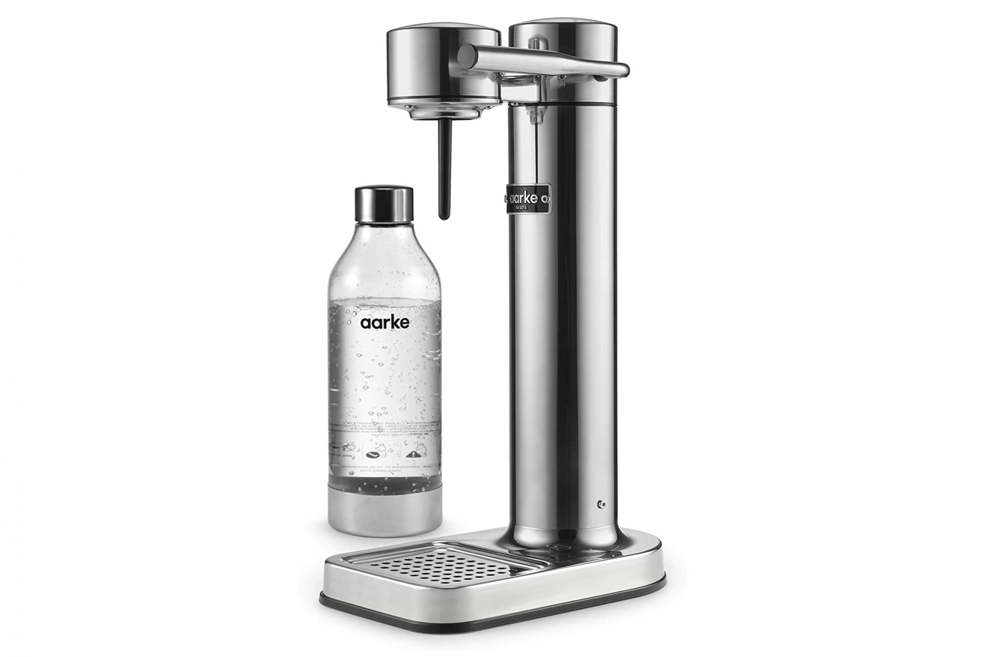 Aarke Stainless Steel Soda Maker with container full of sparkling water