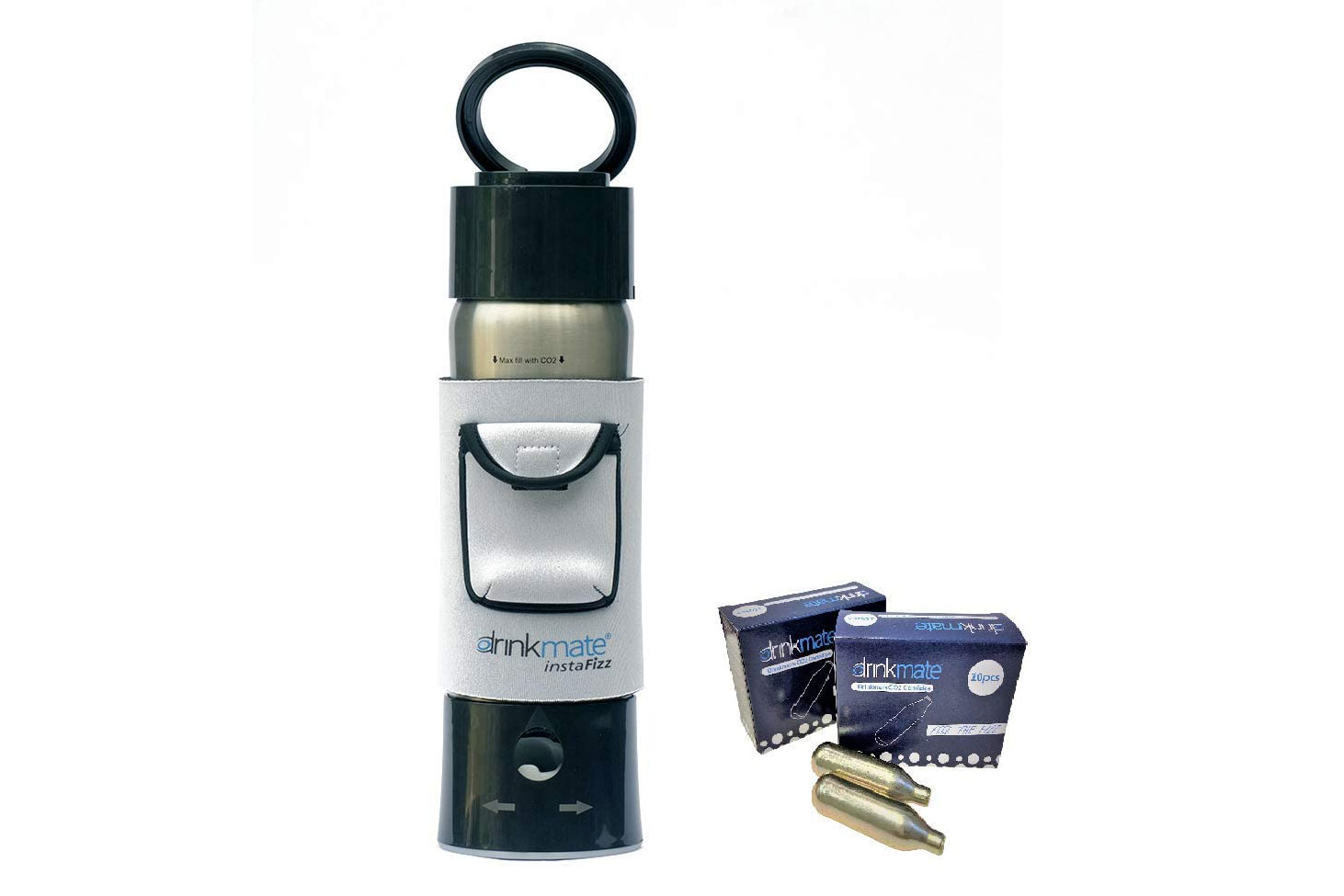 Drinkmate Handheld soda maker with silver sleeve and refill cartridge