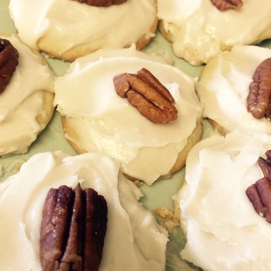iced sugar cookies with pecans