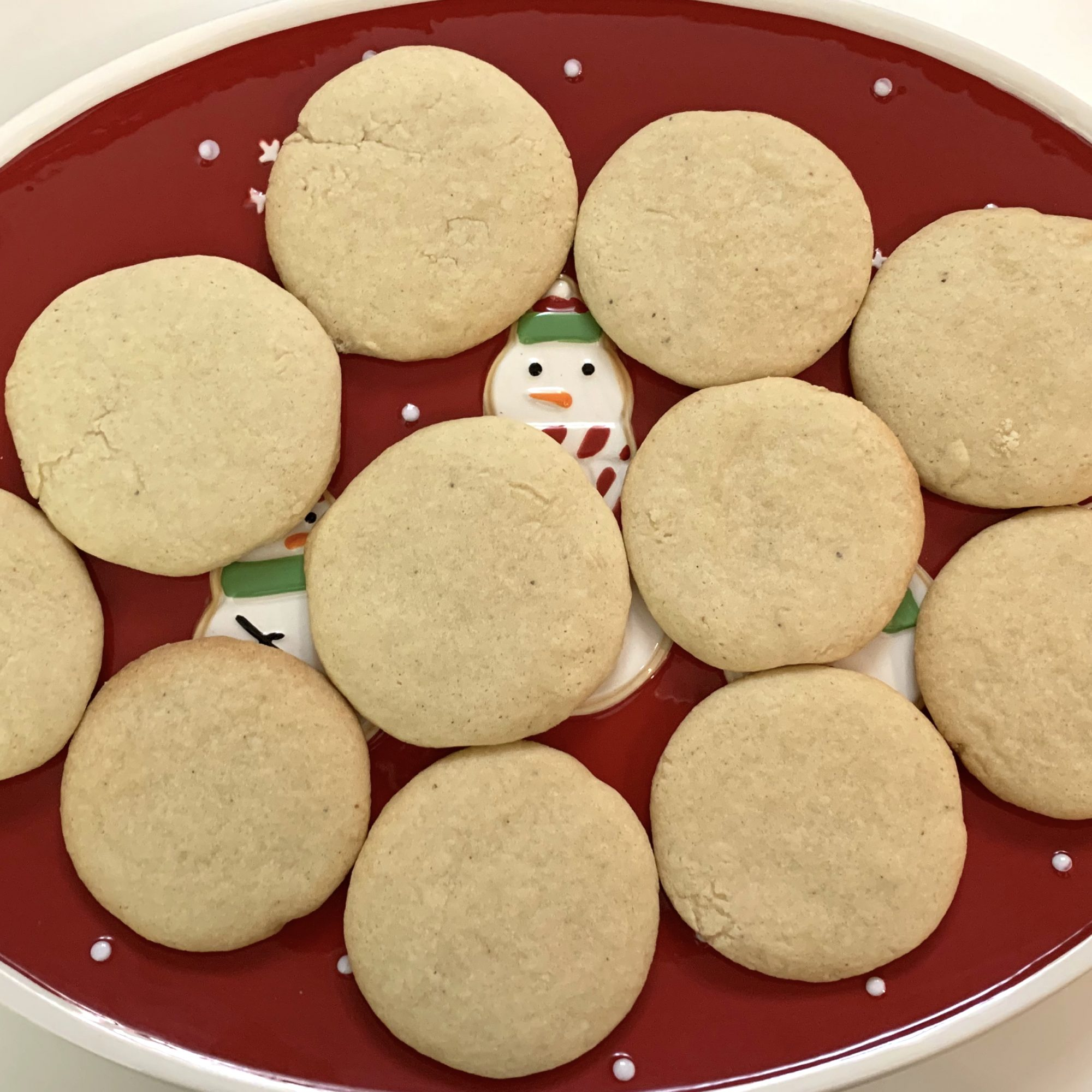 tea cakes on a red snowman plate
