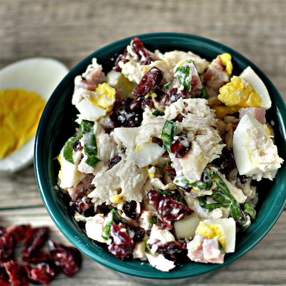 salad with leftover turkey and cranberries