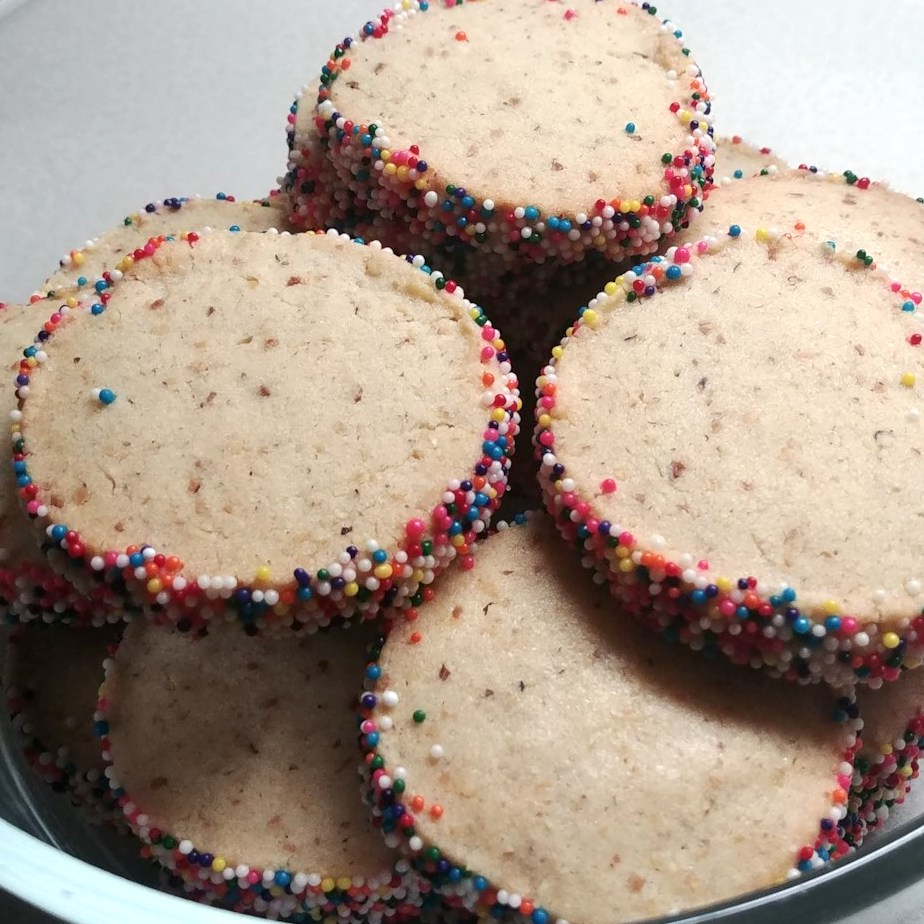 cookies with colorful sprinkles on the edges